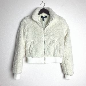 NEW Teddy Bomber Jacket Removable Hood Zip Up